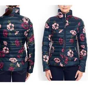 Land's End Navy Floral Packable Down Puffer Jacket
